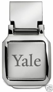 new-YALE-UNIVERSITY-ENGRAVED-SILVER-SPRING-LOADED-MONEY-CLIP-boxed-gift