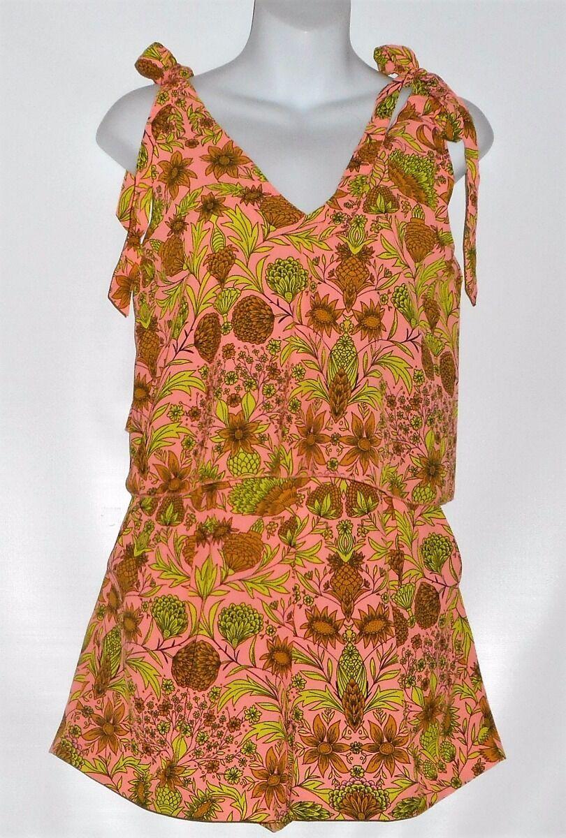 H&M Ladies Floral Crepe Woven Fabric Short Jumpsuit Multi-color Ten (10) NWT