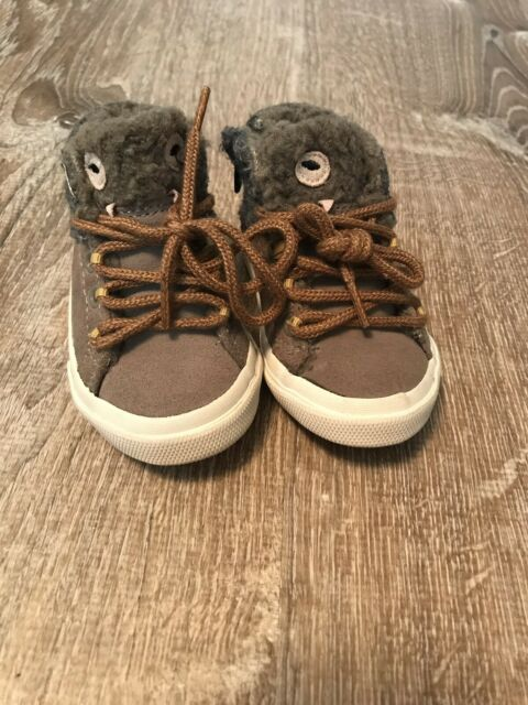 Zara Baby Boy Beige Gray Tweed Leather Boots Monster Face ...
