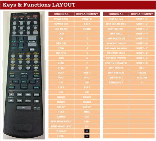Ersatz Fernbedienung für Yamaha RXV640 RX-V640 RAV245 WA16400 EU WA16400EU NEU