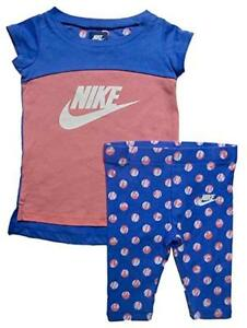 NIKE-Baby-Girls-039-2-Piece-Short-Sleeve-Shirt-amp-Capri-Pants-Set-Outfit