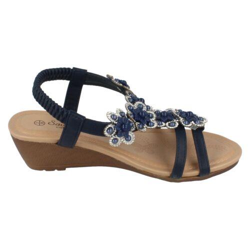 Ladies F1R0788 Wedge Heel Sandal By Savannah Collection £19.99