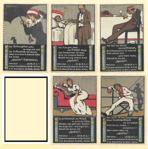 1900s German Pain Reliever Poster Stamp set of 5 3DbykDx8-07140522-397471045