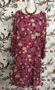indigo-M-amp-S-Purpura-Rosado-Oversize-encubrir-Floral-Vestido-Talla-10-12-Gipsy-Boho