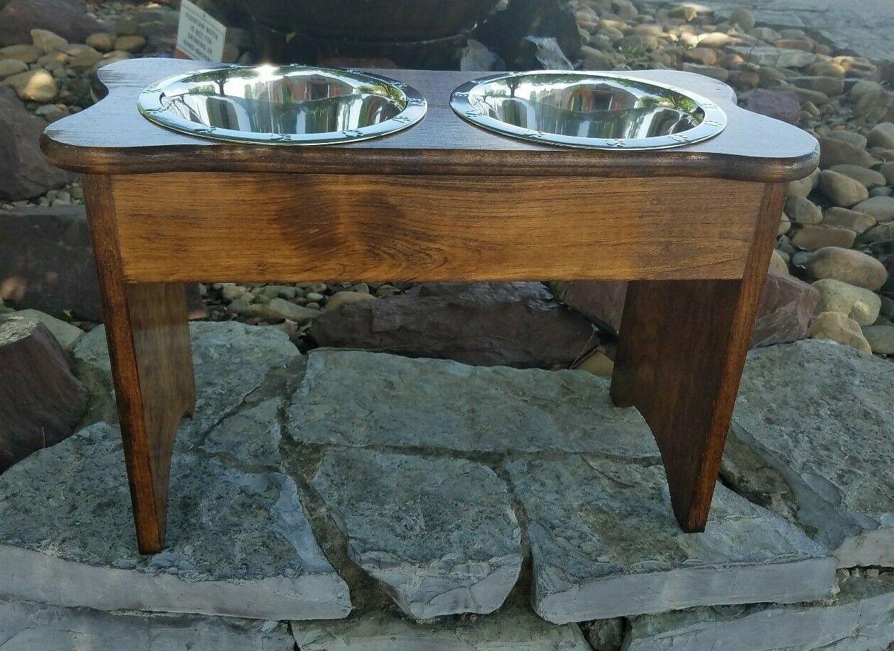 Tall 2 Quart Brown Raised Wood Bone Dog Feeder 15 H