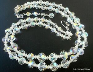 Vintage Double Strand Choker Style Iridescent Crystal Beaded Necklace