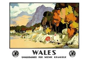 1930/'S ART DECO VISIT SCENIC WALES GWR RAILWAY POSTER A3 ART PRINT