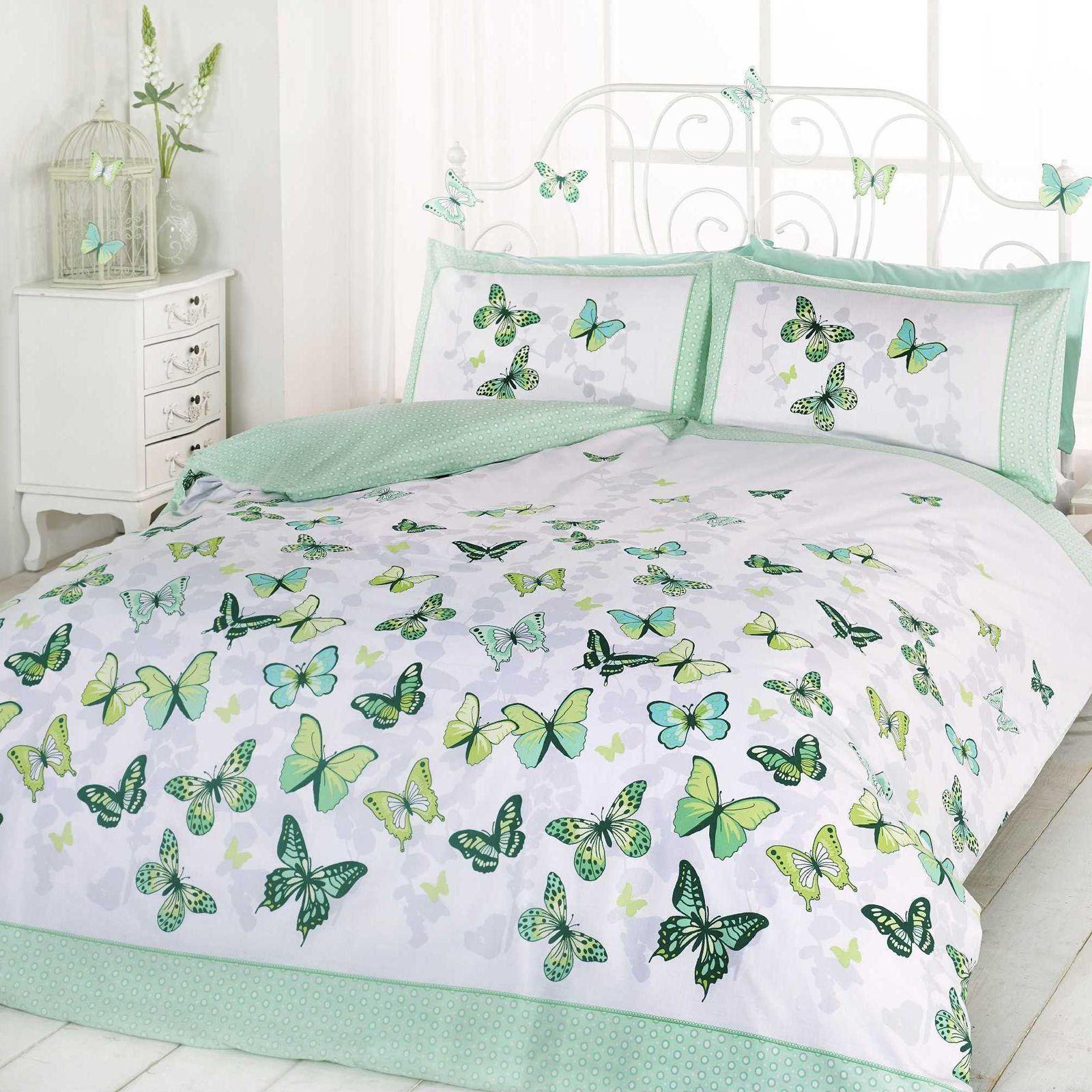 BUTTERFLY FLUTTER DOUBLE DUVET COVER AND PILLOWCASE SET GREEN WHITE BEDDING