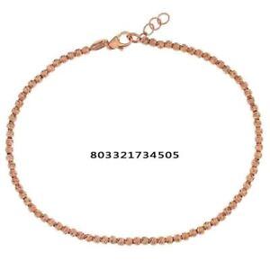 nuovo prodotto 13476 8de32 Dettagli su Bracciale oro Rosa 18 kt. sfere 0.15 mm regalo donna ragazza  matrimonio nozze
