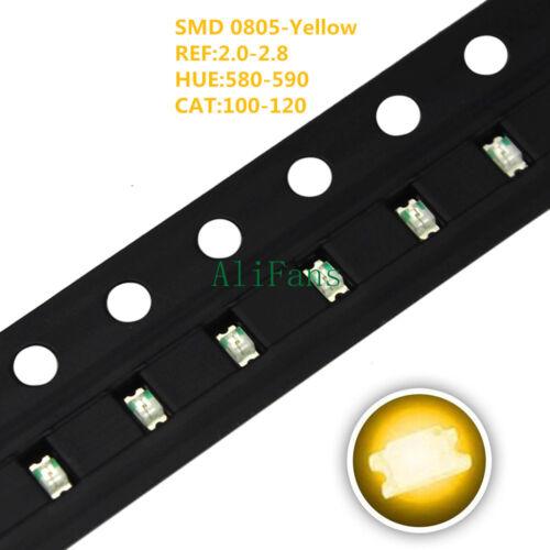 100pcs SMD SMT 0805 Super Bright yellow LED lamp light 0805 LED NEW