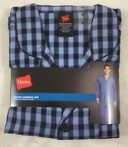 Hanes Men/'s Woven Pajama Set Long Sleeve Sleepwear 20792 Black Plaid Size M