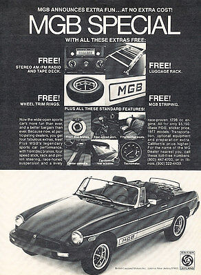 1976 1977 MGB Convertible Sunroof Classic Vintage Advertisement Ad D28