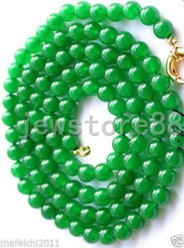 """8MM natural ronda Perla Collar Verde Jade Talla 36/"""""""