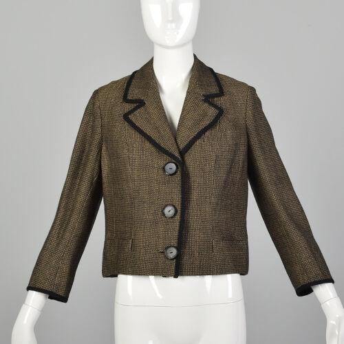 L 1960s Brown Jacket Boxy Tweed Black Trim 3/4 Sle