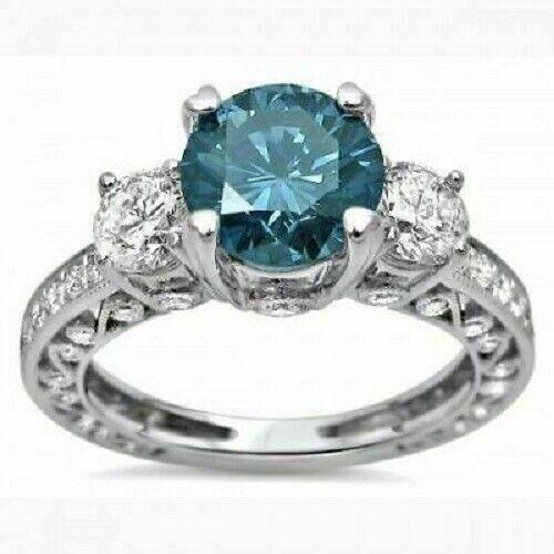 2.65Ct Round Cut Blue Diamond Three-Stone Engagement Ring 14K White Gold Over