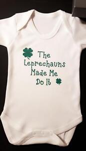 Novelty-Baby-Grow-Vest-Romper-Sleep-suit-039-The-Leprechauns-made-me-do-it-039