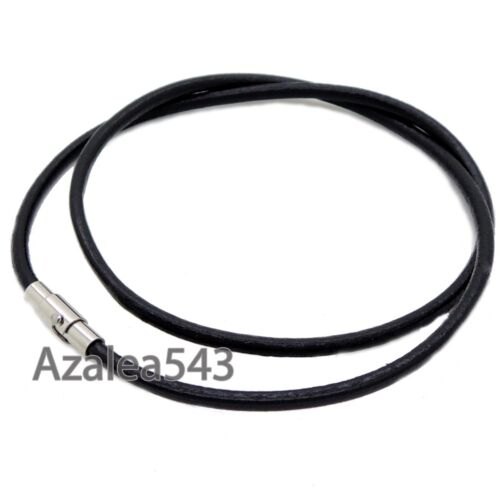 """14/""""~40/"""" 3MM 4MM 5MM Black Top Genuine Leather Cord Stainless Steel Lock Necklace"""