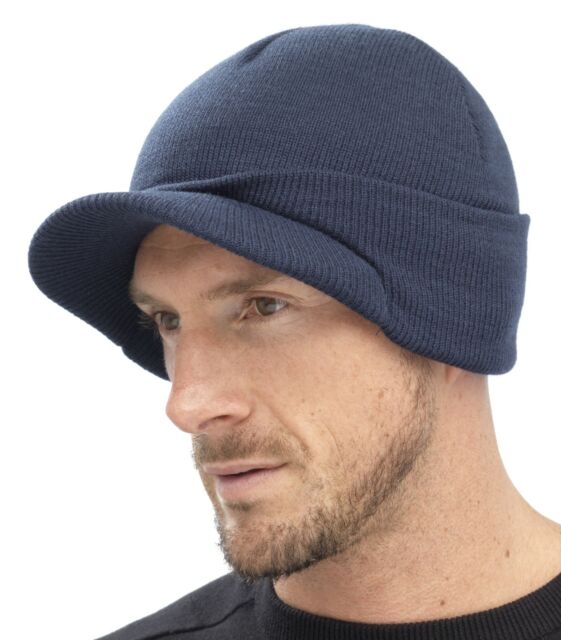 df7f7b07363 Mens Navy Blue Knitted Beanie Hat With Peak Gl221 for sale online
