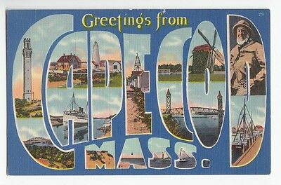 [48839] 1951 LARGE LETTER POSTCARD GREETINGS FROM CAPE COD, MASSACHUSETTS