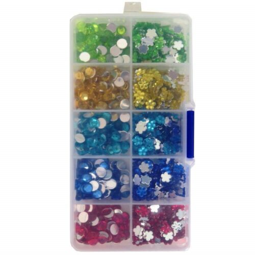 700 Mixed Gemstones Assorted Colours In Organiser Box Christmas Craft 750