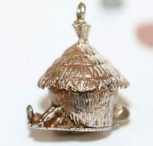 Rare-Vintage-Grass-Hut-Barn-Opening-To-Couple-Sterling-Silver-Charm-Sz-Large