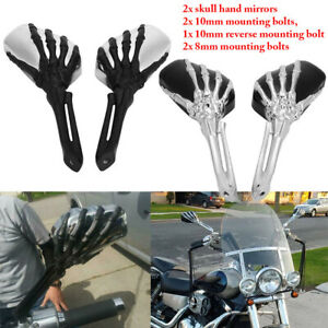 2pcs Motorcycle Chromed Rearview Mirrors 8mm 10mm Thread Skeleton Skull Hand Handlebar Reflect Qiilu Motorcycle Rearview Mirrors