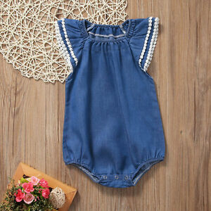 87b82ca34e876 Image is loading Newborn-Baby-Kids-Girls-Butterfly-Sleeve-Denim-Romper-