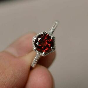 1-6ct-Round-Cut-Red-Garnet-Engagement-Ring-14k-White-Gold-Finish-Solitaire-Women
