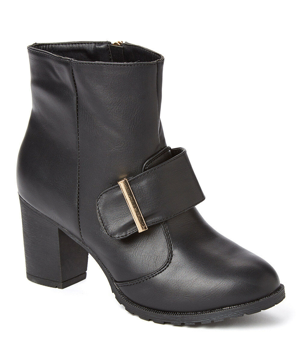NEW Womens Forever Young Couture Black ChUnky Heel Bootie Faux Buckle Side Zip