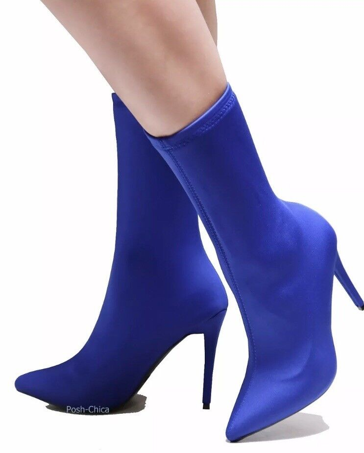bluee Stretchy Pointy Toe Mid Calf Booties