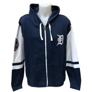 reputable site f4f41 b60ef Details about MLB New Men's Detroit Tigers Zipper Hoody Sweatshirt Large  Hoodie Baseball Navy