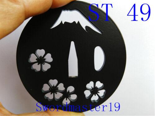 1 Cherry Blossom Glossy Black Oval Iron Tsuba Japanese Katana Wakizashi Sword