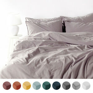Stone washed Bedding Set Grey Duvet Cover 2 Pillow Cases 100/% Cotton King
