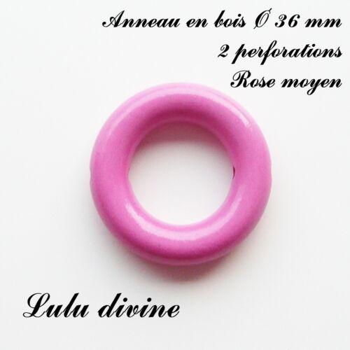 XS avec trous Anneau en bois de 36 mm pour hochet bébé : Rose moyen