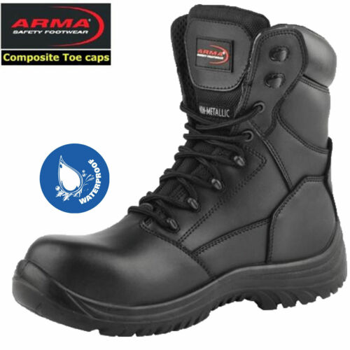 Mens S3 Waterproof Lightweight Composite Toe Police Military Work Boots Size7-11