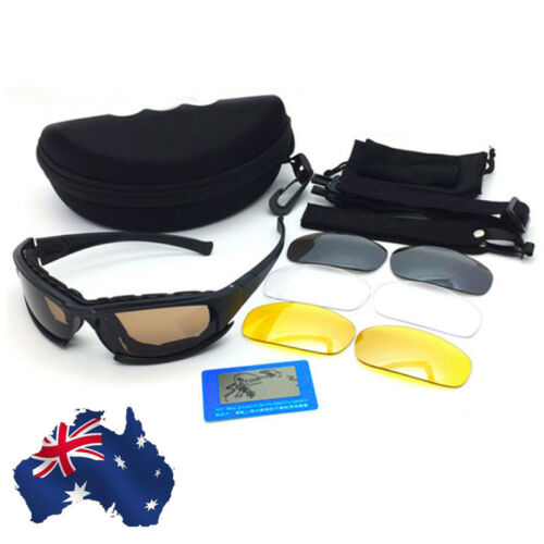 AU Tactical Daisy X7 Glasses Military Goggles Army Sunglasses + 4 Polarized Lens