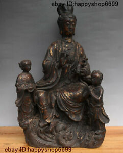 Strong-Willed Collect China Iron Gilt Tongzi Boy Kwan-yin Guan Yin Goddess Bodhisattva Statue Extremely Efficient In Preserving Heat Antiques