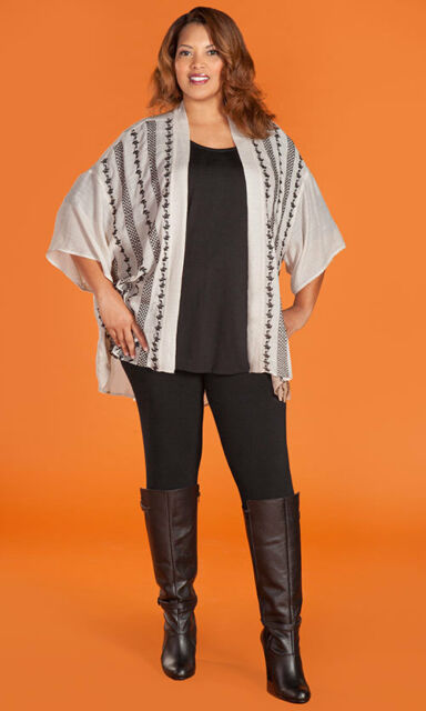MIB Women's Plus Size SHALANA Embroidered Blouse Jacket  One Size Beige Brown