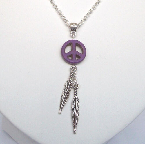 "Piedra púrpura paz Dreamcatcher Plumas Colgante Collar Cadena 18/"" En Bolsa De Regalo"