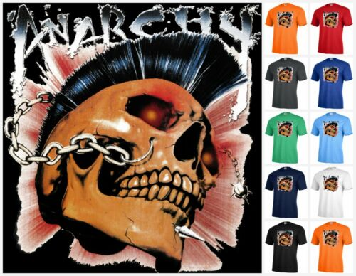ANARCHY Skull punk rock  Graphic tee T-shirt Adult P400