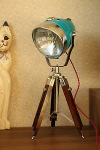 Vintage-Desk-Lamp-From-Motorcycle-Headlight-With-Wooden-Tripod