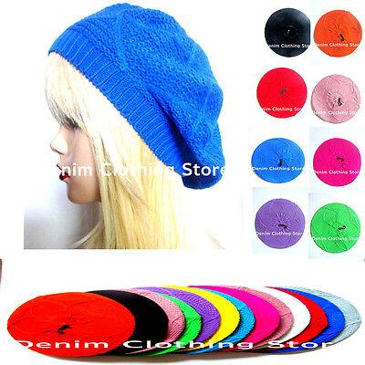 Women's Summer Spring Winter Crochet Knit Slouchy Beanie Beret Cap Hat One Size