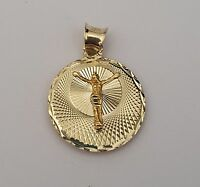 14k Solid Yellow White Rose Gold 3d Jesus Virgin Mary Double Side Pendant Charm