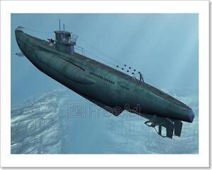 U99-German Submarine Art Print Home Decor Wall Art Poster I