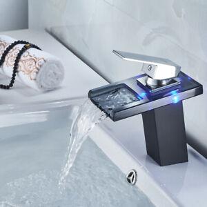 Details zu Schwarz LED Waschtischarmatur Glas Wasserfall Wasserhahn Bad  Waschbecken Armatur