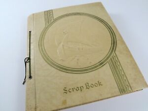 Vintage-1940-039-s-Scrapbook-52-pages-Numerous-Post-Cards-Cards-Clippings-etc