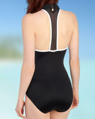 $174 Miraclesuit Swimsuit 14 44 Black One Piece Finish Line Half Zip Orig