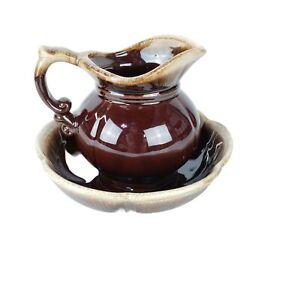 McCoy Brown Drip Ware Glaze Pottery Pitcher Bowl Set 7528 USA Scalloped Vintage