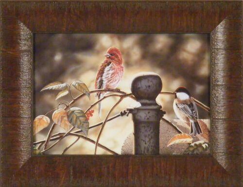 THE GATHERING by Rick Kelley 10x13 FRAMED PRINT Birds Chickadee Cardinal