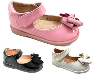 INFANTS KIDS GIRLS SPANISH BABY WEDDING PARTY TOODLER DIAMNATE BOW PATENT SHOES